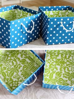 DIY Fabric Bins - Follow us on Facebook here: http://www.facebook.com/diyncrafts
