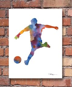 Soccer Art Print - Abstract Watercolor Painting - Wall Decor This is a… Art Football, Soccer Art, Abstract Watercolor, Watercolor Paper, Watercolor Paintings, Photoshop Lessons, Football Pictures, Sports Art, Note Cards