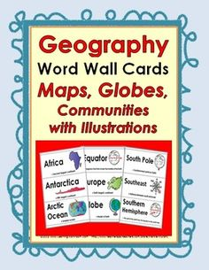 Geography Word Wall Cards Teaching Geography, World Geography, Social Studies Activities, Teaching Social Studies, Map Globe, Vocabulary Cards, Continents, Word Walls, Study