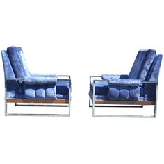 Milo Baughman Style Lounge Chairs Pair | From a unique collection of antique and modern lounge chairs at https://www.1stdibs.com/furniture/seating/lounge-chairs/