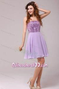 Purple Strapless Sequins Chiffon Knee-length Dresses for Dama - Quinceanera 100