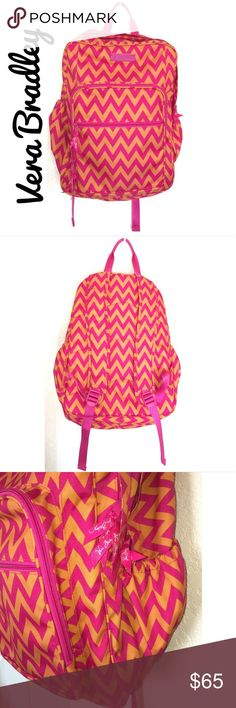 """Vera Bradley Ziggy Zags Backpack Vera Bradley Lighten Up Large Ziggy Zags Backpack!  NEW w/o tags! Durable and water-resistant printed polyester. Two main compartments. Also a front zip-down compartment with inside slip pocket, ID window, four pen holders and outside zip pocket. Side pockets fit water bottles. Padded, adjustable shoulder straps plus top handle. Dimensions: 12 ¾"""" W x 17"""" H x 7 ½"""" D with 4"""" handle drop, 32"""" adjustable straps Vera Bradley Bags Backpacks"""