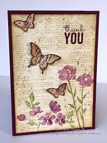 I am loving the vintage look at the moment and have been dying to use the new Stampin Up Painted Petals stamp set.      I started by spongin...