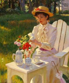 Afternoon Tea - artist possibly Gregory Frank Harris Tee Kunst, Double Exposition, Norman Rockwell, Fine Art, Beautiful Paintings, Afternoon Tea, Female Art, Tea Time, Art Gallery