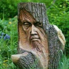 Sculture in legno Wood carvings Wood Carving Faces, Wood Carving Designs, Tree Carving, Wood Carving Patterns, Wood Carving Art, Wood Carvings, Art Sculpture En Bois, Driftwood Sculpture, Creation Art