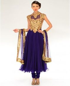 Deep Aubergine Gota Patti Embellished Kalidar Suit - Buy Sangeet Online | Exclusively.in