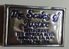 Scales of Justice Matchbox Mineola Blvd Long Island NY Metallic Foil Full 1980s | Collectibles, Paper, Matchbooks | eBay!