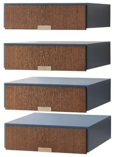 Arne Jacobsen; Formica, Wenge and Metal Wall-Mounted Side Tables by Weber & Asmussen for the SAS Royal Hotel, 1958.