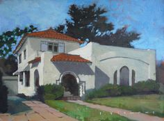 One of my dream houses in a painting!! California Bungalow Art