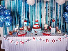 """Photo 1 of Airplanes & Clouds / Baby Shower/Sip & See """"Come Fly with… Baby Shower Backdrop, Baby Shower Table, Baby Shower Cakes, Shower Party, Baby Shower Parties, Baby Shower Themes, Baby Boy Shower, Baby Shower Decorations, Baby Shower Gifts"""