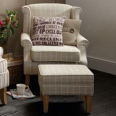 Natural Check Edinburgh Armchair #Dunelm #Decor #LivingRoom