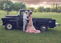 Rustic wedding, vintage wedding, country wedding, pink wedding dress, old truck photo
