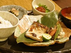 Japanese dishes - rice, fish, miso soup - very good for health.