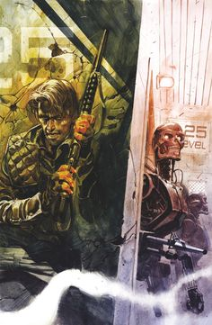 Kyle Reese preparing to ambush a Terminator (anno 2029). Artwork by Massimo Carnevale