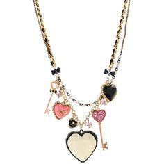 Large Heart/Key Necklace ($68) ❤ liked on Polyvore featuring jewelry, necklaces, women, betsey johnson necklace, heart jewellery, heart shaped key necklace, heart shaped jewelry and betsey johnson