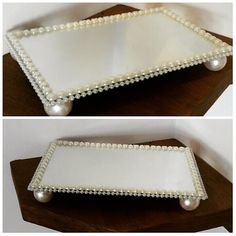 Bandeja de espelho decorada com pérolas. Diy Wedding, Wedding Gifts, Pearl Crafts, Mirror Tray, Party Trays, Diy Décoration, Diy Cake, Tray Decor, Diy Gifts