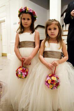 Tulle Flower Girl Dresses    Photography: Michael Carr Photography   Read More:  http://www.insideweddings.com/weddings/colorado-inspired-garden-wedding-in-houston-texas/263/