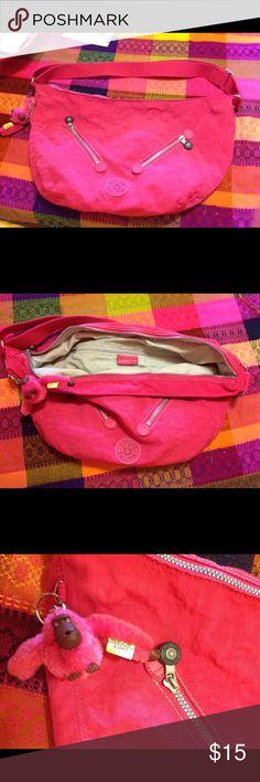 Pink Kipling Purse Pink Kipling Purse with adjustable strap, zippers and signature Cute monkey! Kipling Bags Crossbody Bags