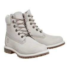 Timberland Premium 6 Boot Winter White Nubuck ($225) ❤ liked on Polyvore featuring shoes, boots, timberland footwear, ivory boots, nubuck leather boots, nubuck shoes and white winter boots