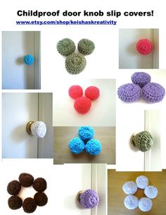 3 Crochet door knob cover child safety cover by KeishasKreativity