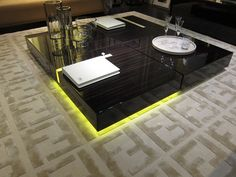An coffee table from Fendi that is lit with battery powered LED lights. Maison et Objet 2012