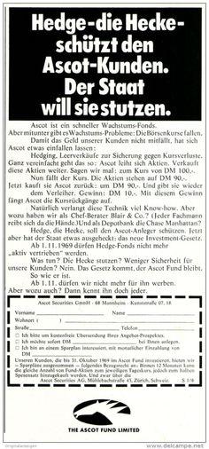 Original-Werbung/ Anzeige 1969 - THE ASCOT FUND LIMITED / HEDGE - FONDS - ca. 110 x 240 mm