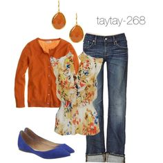 """""""Casual Friday: Orange & Blue"""" by taytay-268 on Polyvore"""