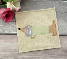 Dachshund Coaster, Drink Coaster, Dachshund Gift, Fabric Coaster, Birthday Gift Idea, Sausage Dog Gift, Gift For A Dog Lover, Daxie Gift by TheCornishCoasterCo on Etsy
