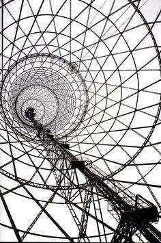 Russia, Moscow, 1922, Shukhov's radio tower. The first permanent industrial structure after the revolution.