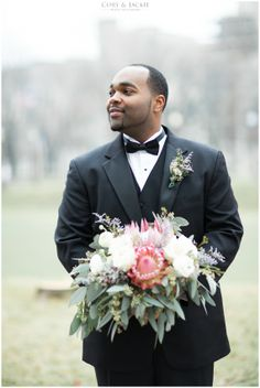 Groom and flowers. Michael & Kylie Indianapolis + Destination Wedding Photographers
