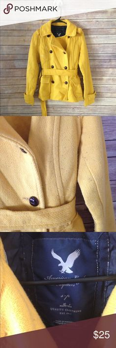 American Eagle Yellow Pea Coat size Small Adorable Pea coat- very warm and thick. It has been worn and wash a couple times and shows some wear on the fabric. ❌no trades, holds, or lowball offers. ✅Clean and smoke free home, quick shipping, bundle discount, always! 🎁Free gift with $15+ bundle. American Eagle Outfitters Jackets & Coats Pea Coats