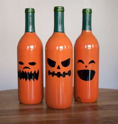 Wine bottle jack-o-lanterns