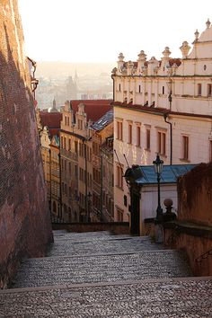 Prague (Czech Republic) is one of the smallest capital cities in Europe, although its suberbs now stretch across the hills.