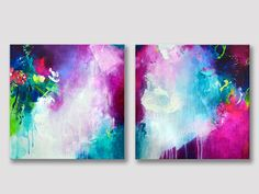 2 parts original abstract painting unique acrylic modern work