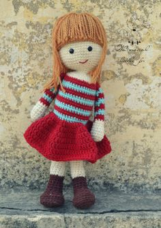 Crochet doll pattern amigurumi girl pattern by WhimsicalLittleFox