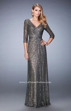 f1e19eab624 Picture of  Sequin Evening Gown with 3 4 Length Sleeves