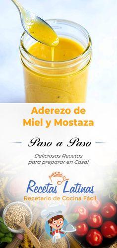 Cómo hacer aderezo de miel y mostaza hecho en casa.  Este Aderezo de Mostaza y miel hecho en casa es fácil de preparar, requiere ingredientes reales y dura hasta tres semanas en el refrigerador. Se utiliza para ensaladas y como salsa para mojar. Veggie Recipes, Healthy Recipes, Deli Food, Dehydrated Food, Fat Foods, Salad Bar, Just Cooking, Honey Mustard, Salad Dressing