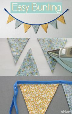 Bunting adds a festive touch to any room or party and is a great way to use up small fabric remnants. You can use any type of fabric for bunting and it takes little time to sew. We'll show you how to do in this step-by-step tutorial! http://www.ehow.com/how_5630235_sew-flag-bunting.html?utm_source=pinterest.com&utm_medium=referral&utm_content=freestyle&utm_campaign=fanpage