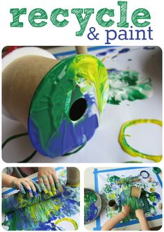 Earth Day Painting { Using recycled tools instead of a brush}