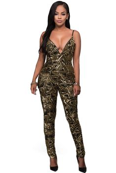 734f104640a Black Gold Sequins Bare Back Jumpsuit