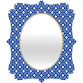 Blueberry Quatrefoil Diamond Print Wall Mirror by Caroline Okun for DENY Designs. Vanity Wall Mirror, Round Wall Mirror, Mirror With Hooks, Kitchen Bath Collection, Contemporary Wall Mirrors, Mirrors Wayfair, Blue Mirrors, Mosaic Wall, Quatrefoil