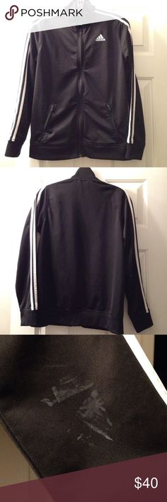 Adidas zip up track jacket In very good condition. Black color with white stripes, it has a white spot on the right sleeve, please see last picture, no noticeable. Size is Large 14/16 children's, fits size Small women's Adidas Jackets & Coats