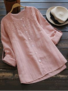 $22.68 Embroidered Oversized Stand Collar Shirt - PINK ONE SIZE