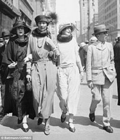 1922 the wife of famed American philosopher C.S. Pierce, walks with her children in the Easter Parade