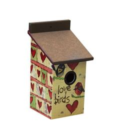 Love Birds Birdhouse Stephanie Burgess Designed Painted Peace Collection Studio M