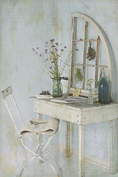 think this little desk can be made with a crate.  just add legs.  cute