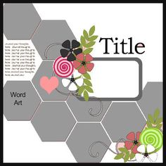 "Cricut Inspired Scrapbook Layouts: New ""Hexagon"" Scrapbook Layout Cricut cut file + Sketch. #scrapbooking #scrapbook #layout #sketches #templates"