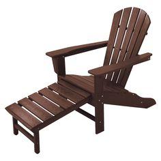 Palm Coast Adirondack Chair with Pull Out Ottoman - Mahogany - Polywood, Mahog