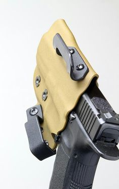 Kydex holster with unique design and loops. Great rear sought on the Glock with grip tape on the slide.