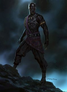 This is the approved concept design I did of the former Black Panther, the king of Wakanda, T'Chaka! I didn't get to work on this film beyond this character since I was busy leading Marvel Studios' Visual Development department on Thor: Ragnarok at the Black Panther Marvel, Black Panther King, Ms Marvel, Marvel Dc Comics, Marvel Heroes, Comic Book Characters, Marvel Characters, Comic Character, Black Panthers